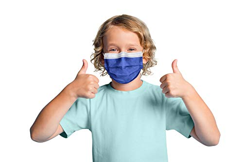 3 Layer Blue Disposable Face Mask for Kids   50-Pack USA Made Kids Disposable Face Masks in Denim Blue with Adjustable Nose Wire & Soft Ear Loops