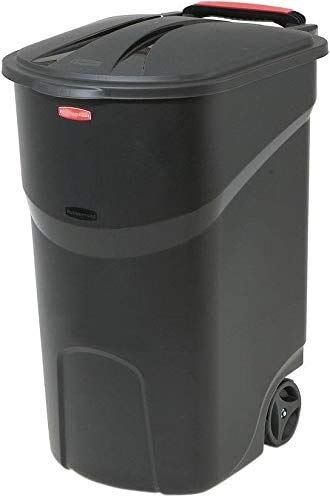 SKEMIX Black Wheeled Trash Can with Lid Opens to Either 80 Degrees Size 45 Gal. Wheels Steady and Upright for Outdoor