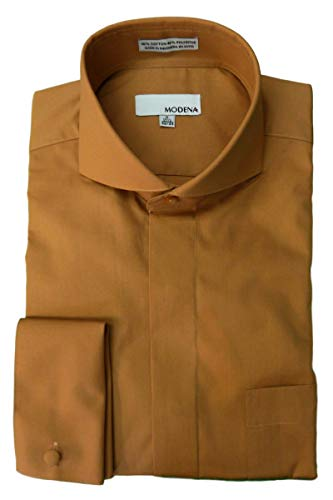 Modena Men's Cutaway Collar French Cuff Dress Shirt - Rust...