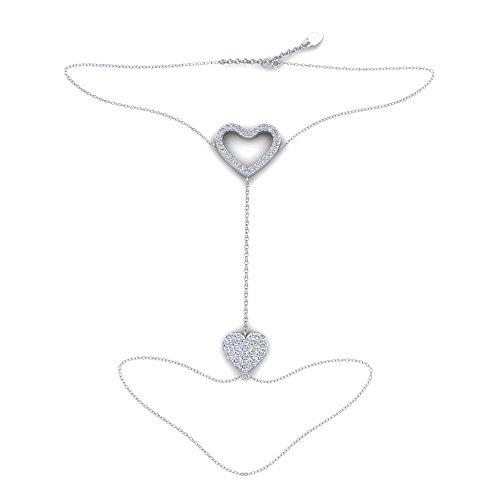 MONCOEUR Pulsera de Anillo Plumeria,Cadena de Plata Hecha a Mano, Plata de Ley 925, con los Mejores Cristales de Swarovski, Diseño Elegante Pulsera Caja de Regalo