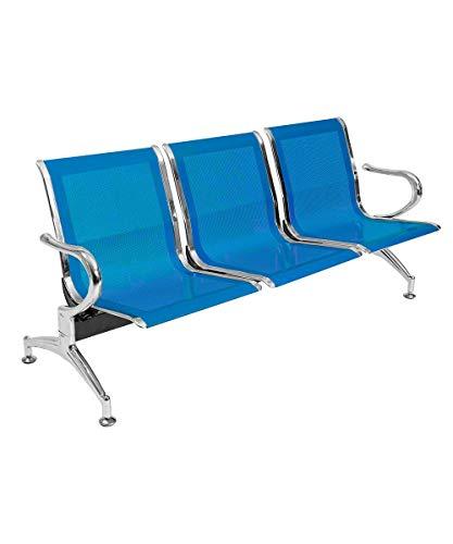 Notek Srl Panca per Sala d'Attesa Colore Blu, sedute Ufficio, panche in Acciaio per Studio Professionale e Sala d'aspetto (3_posti)