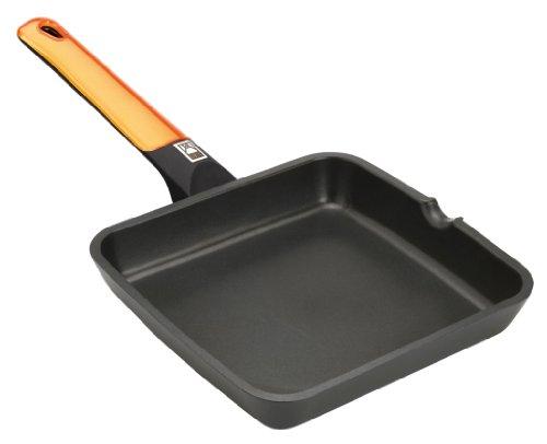 BRA Efficient Orange - Grill asador Liso, 28 cm, Aluminio Fundido con Antiadherente Platinum Plus, Apto para inducción