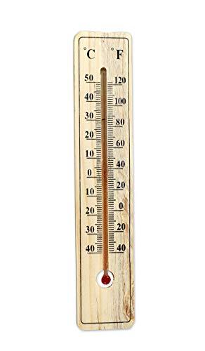Kasahome Termometro in Legno da Parete 50° Temperatura Celsius Fahrenheit Termometri Misurazione Interno Esterno