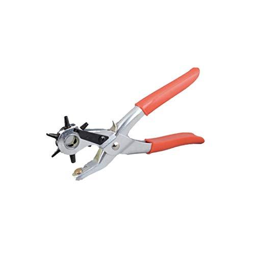 JZK Punzón de agujero de cuero, Punzón de agujero de cinturón de varios tamaños, Herramienta de alicate de punzón giratorio pesado, Herramienta de agujero de punzón artesanal(Rojo)