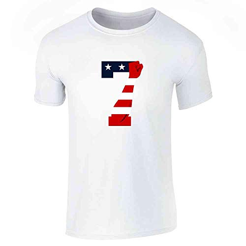 Pop Threads Power 7 Logo Patriotic American Flag Justice Fist White L Graphic Tee T-Shirt for Men