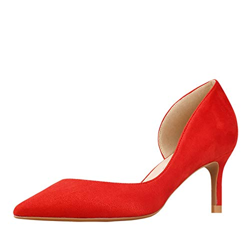 GOXEOU Damen Pumps Wildleder Spitze Zehen Stiletto Absatz High Heels D'Orsay Kleid Pumps Schuhe Stilettos, Rot - Rot 2 4 Zoll Absatz - Größe: 37 EU