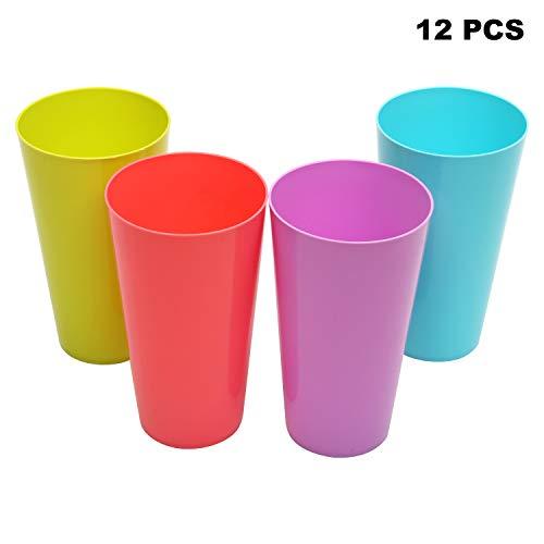 BELLE VOUS Gobelets en Plastique (500 ML) - 12 Pcs Verre en Plastique Réutilisable - Verres à Boire pour Les Fêtes, Pique-Nique, Mariage, Cocktails et Jus - À égoutter au Lave-Vaisselle (16 oz)