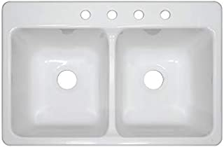 Lyons DKS01BA4-3.5 Bravo 22-in x 33-in White Double-Basin Acrylic Drop-in 4-Hole Residential Kitchen Sink