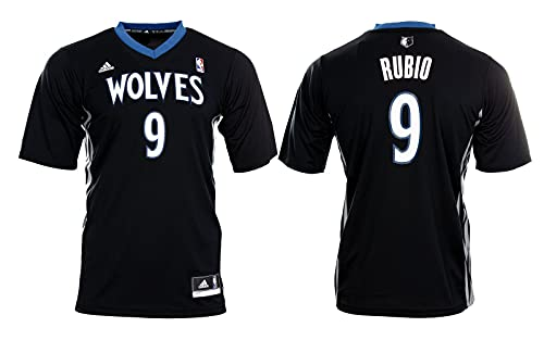 adidas Herren Trikot Int Replica Jersey 9 Timberwolv NBA, Schwarz/Weiß/Blau, S/46