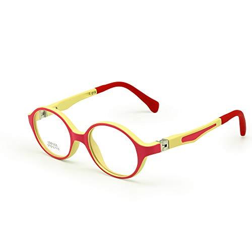 EnzoDate Baby Kleinkind Brillengestell TR90 Größe 37mm Safe Biegsamen Flexible Optische Kinder Kinder Brillen Klare Linsen Federscharnier (Rosa/Gelb)