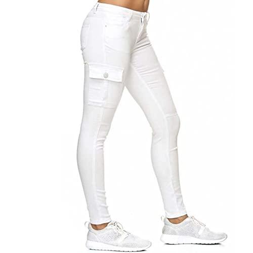 BAIXIAOCHI Pantalones Vaqueros De OtoñO/Invierno, Pantalones De Tubo, Bolsillos Laterales Tridimensionales, Pantalones Ajustados De Cintura Baja para Mujeres