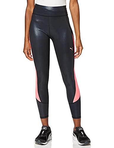 PUMA Damen Runner ID Regular Rise Full Tight Leggings, Black-Burgundy, L