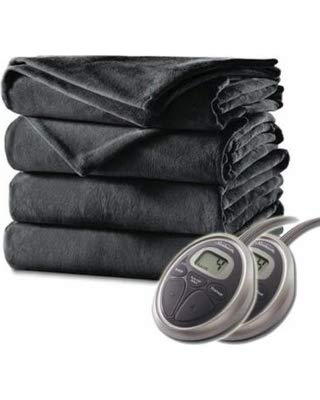 Sunbeam King Electric Heated Blanket Luxurious Velvet Plush 2 Digital Controllers, 20 Heat Settings and Auto-Off Feature - 5yr Warranty, Gunmetal/Charcoal Gray