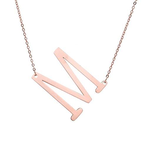 Bobury Cadena Sencilla Mujeres Collar de la Letra Chica Colgante del Acero Inoxidable joyería de Oro Rosa Elegante del Regalo