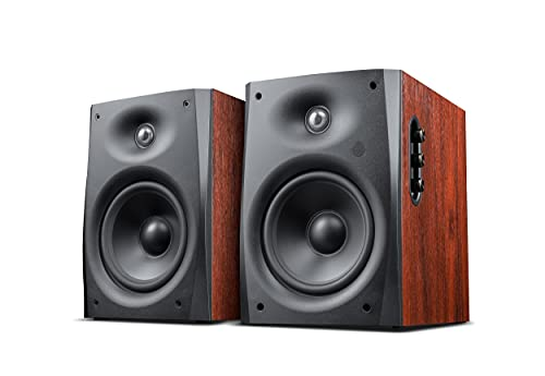 Swans Speakers - D1090 Active Wireless Bookshelf Speakers - DSP Crossover - 6.5'' Long-Throw Woofer - 28mm Soft Dome Tweeter - 220W RMS -Brown Red