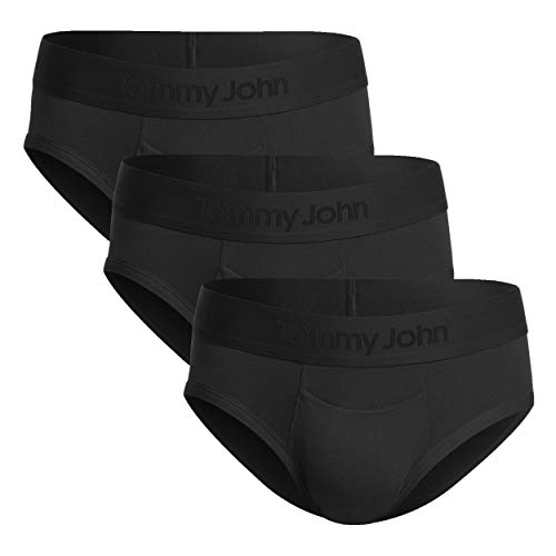 Tommy John Men's Second Skin Briefs - 3 Pack - No Ride-Up Comfortable Breathable Underwear for Men (Black, Large)