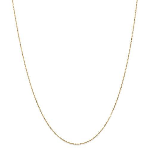 14K giallo oro 0.6mm cardato cavo corda catena collana 50,8cm