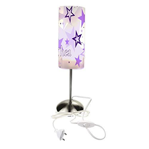 CreaDesign TI-1030-05 Sterne lila Nachttischlampe Kinderzimmer mit Namen, Kinder Tischlampe/Schlummerlicht mit Schalter für Steckdose, E14, 38 cm hoch