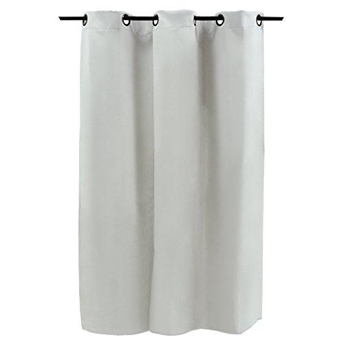 Smartfox Vorhang mit Ösen, Blickdicht, Verdunklungsvorhang, Moderne Gardine, 100% Polyester, Grauweiß, 245 x 145 cm (Länge x Breite)