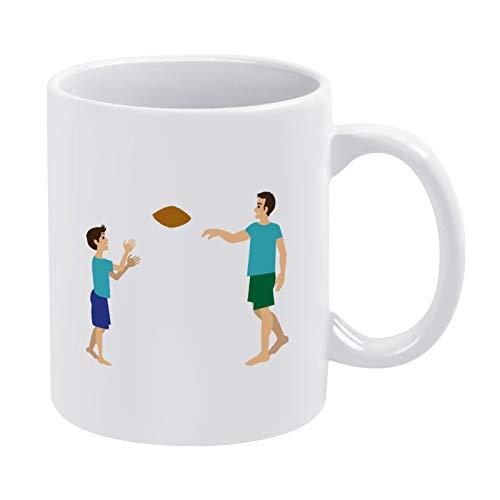 Taza de té divertida para padre e hijo jugando al fútbol de 11 onzas para mujeres o hombres, regalo divertido