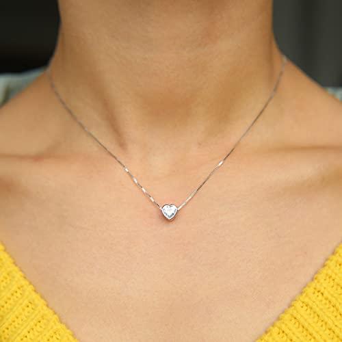 N\C Colgantes para Mujer - 925 Sterling Silver Classic Soltery Stone Diseño Sencillo Valentines Regalo Silver Heart Buje Sparking Lover Collar Día De San Valentín Primera Opción, Dorado