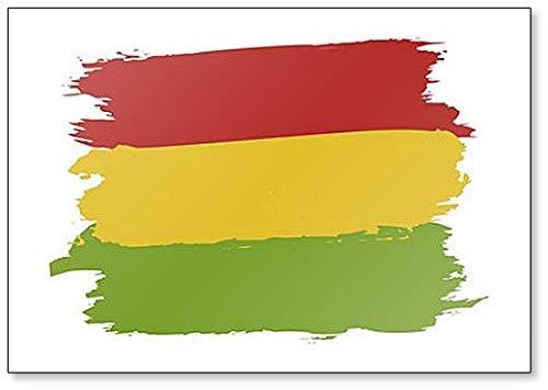 Bandiera pan-africana colori: rosso, oro (giallo), verde. Magnete da frigo con illustrazione a pennello.