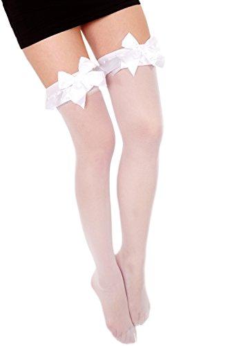 Dress Me Up - W-0028-white Karneval Fasching Cosplay Strümpfe Overknee Kniestrümpfe Zofe Gothic Lolita Maid weiß Schleife Kawaii