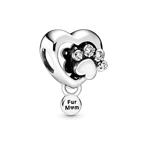 ZHANGCHEN 925 Sterling Silver Bead Sparkling Paw Print & Heart Charm Fit Fashion Women Pan Bracelet Bangle Gift DIY Jewelry
