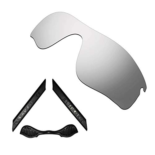 HKUCO For Oakley Radarlock Path Silver Polarized Replacement Lenses And Black Earsocks Rubber Kit