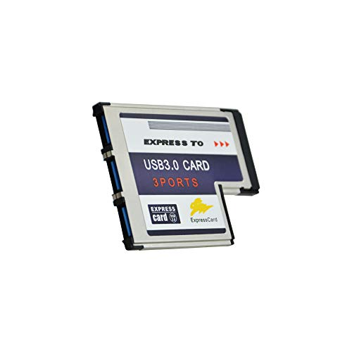 ADWITS Express Card 54 mm PCMCIA 3-Port-SuperSpeed-USB 3.0-Hub mit 5 Gbit/s, mit Fresco FL1100-Chip kompatibel Windows 10, 8, 7, 2000, XP, Vista, MAC OS