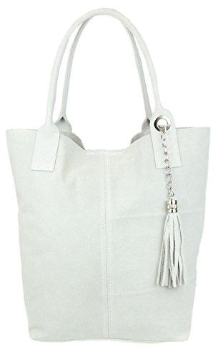 Girly Handbags Open Top Real Italian Suede Metallic-Umhängetasche (Weiß)