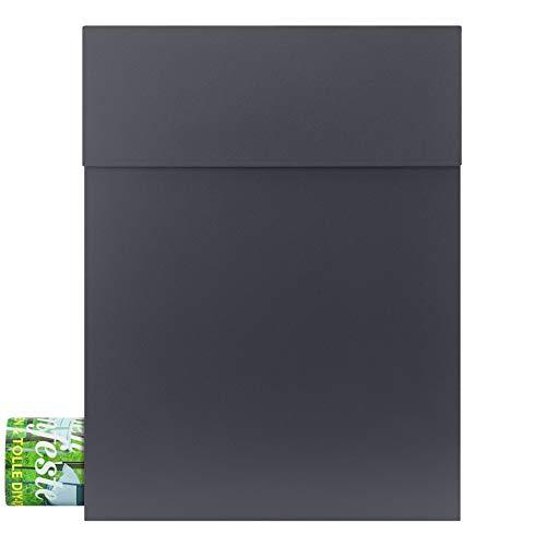 Design-Briefkasten anthrazit (RAL 7016) MOCAVI Box 500 Postkasten mit Zeitungsfach hochwertig, wetterfest, moderner Briefkasten rostfrei, matt, groß, DIN A4