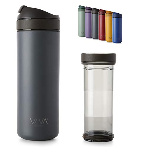 Recharge Thermobecher Kaffee to go, das Schweizer Taschenmesser unter Thermoskannen mit herausnehmbaren Kaffee- und Tee Filter, langlebiges Premium Material, auslaufsicher, Grau 0,46L