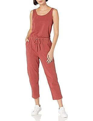 Amazon Brand - Daily Ritual Women's Stretch Cotton Knit Twill Drawstring Waist Sleeveless Jumpsuit, Brick, Small