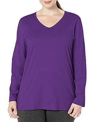 Just My Size Women's Plus Size Vneck Long Sleeve Tee, Violet Splendor, 4X