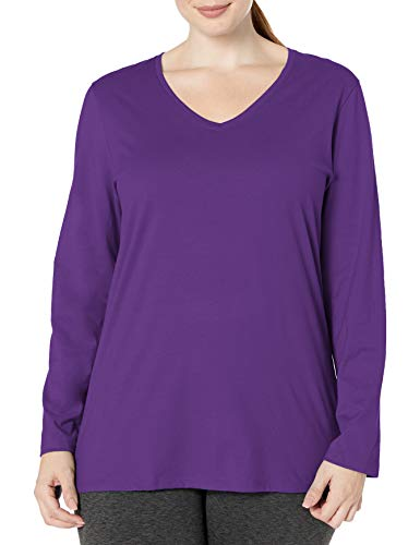 Just My Size Women's Plus Size Vneck Long Sleeve Tee, Violet Splendor, 3X
