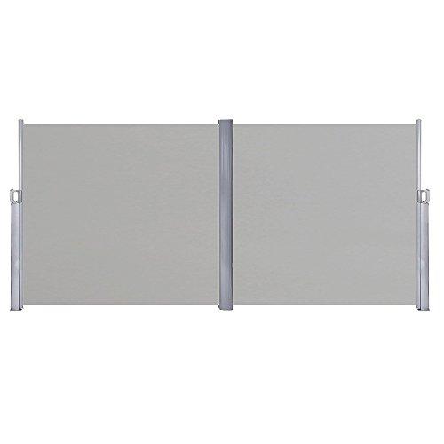 HENGMEI 180x600cm Sichtschutzwand Sichtschutz Sonnenschutz Seitenrollo Markise für Balkon Terrasse Garden (180 cm, Grau)