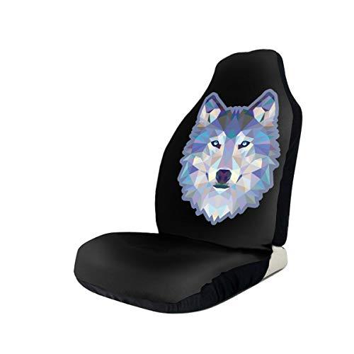 Blue Wolf bedruckte Universal-Autositzbezüge für Vordersitze für Auto, LKW und SUV, Schwarz , 2 PCS