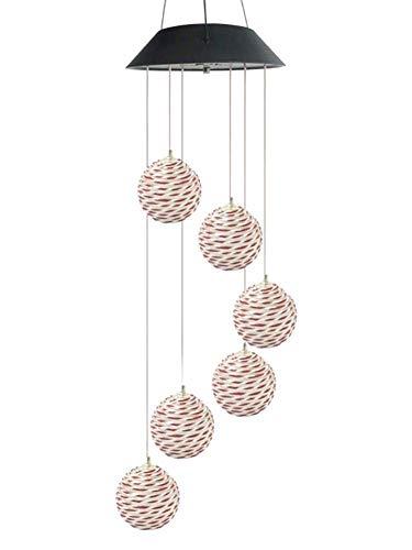 AJH Solaire Lumière LED Changement de Couleur Boule De Vigne Carillon De Vent Suspendu Étanche en Plein Air Décoratif Romantique Vent Vent Cloche Lumière