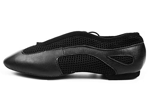 DANCE YOU 1306 Jazzschuhe Sportschuhe latein Tanzschuhe Sneaker aus Leder mit geteilter Sohle fur Damen und Herren - Schwarz - Gr. EU 38=250mm=9.84 inch=UK 5