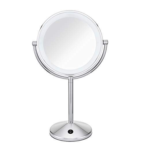 Conair Reflections Double-Sided LED Lighted Vanity Makeup Mirror, 1x/10x magnification, Polished Chrome