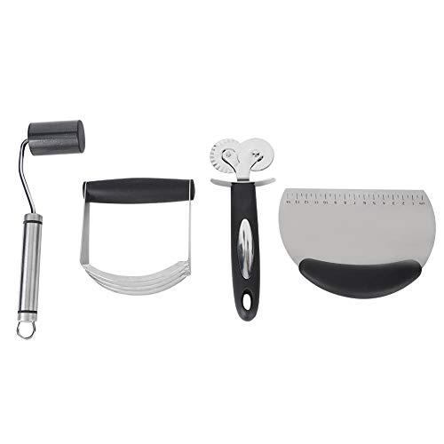 Juego de hornear, cortador de rueda de pizza, acero inoxidable 4 unids/set herramienta para hornear DIY licuadora de masa para cocina