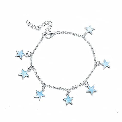 Tobilleras para mujer, pentagrama acrílico, color plateado, regalo de acceso a la playa para niñas, joyería, 1
