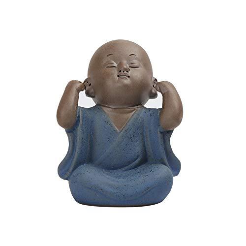 Fucsnxr Ceramic Laughing Buddha Statue Hear-No See-No Speak-No Little Desk Handmade Monk Figurines Cute Office Decor for Men Chinese Art Shelf Decor Accents (Blue)