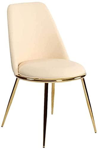 Seggiolone in ferro battuto pelle cuscino confortevole e morbido per soggiorno o sala da pranzo (Color : Milky White)