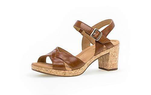 Gabor Damen Sandalen, Frauen Sandaletten,Comfort-Mehrweite, weibliche Lady Ladies elegant Women's Women Woman Freizeit,Camel (Kork),38.5 EU / 5.5 UK