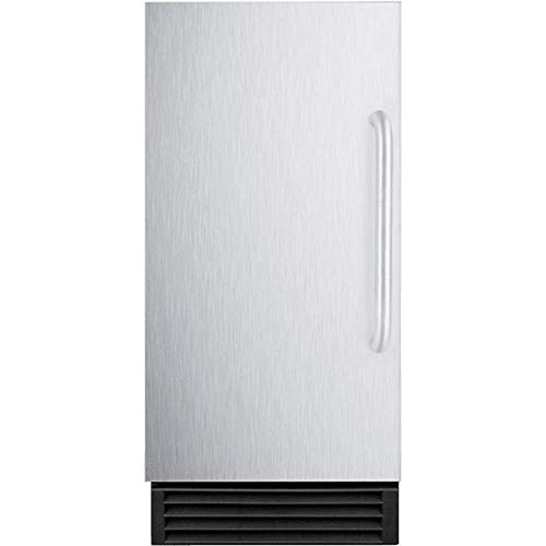 """BIM44GADA 15"""""""" Built-In Commercial Energy Star Ice Maker with Automatic Defrost Integrated Door Frame Reversible Door Insulated Storage Bin and Clear Cube Ice in Stainless Steel"""