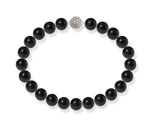 Schmuckwilli Damen Muschelkernperlen Perlenkette Dunkel Schwarz Magnetverschluß echte Muschel 50cm dmk5004-50 (18mm)