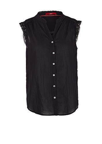 s.Oliver Damen Crinkle-Bluse mit Spitzen-Tape Black 32