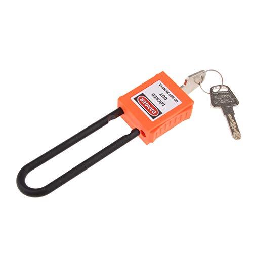 Candados de Anillas Largas PA y Acero Cerradura de Seguridad Para Maletas Equipaje Viaje Armario Vestuario 2 Llaves 40mm - Orange